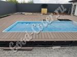 Монтаж террасной доски и ступеней вокруг и рядом с бассейном (цвет венге)